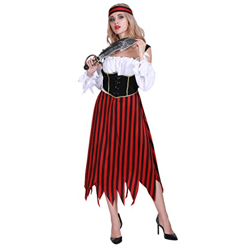 EraSpooky Damen Piratenkostüm Faschingskostüme Cosplay Halloween Party Karneval Fastnacht Piratin Kostüm für Frauen (Machen Sie Eine Piraten Kostüm Frauen)