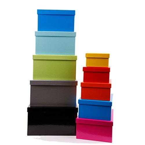 Aufbewahrungsboxen/Schachteln im 10er Set mit Deckel Uni Multicolor