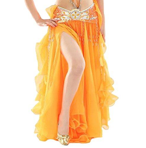 on Einfarbig Professionelle Tänzerin Bauchtanz Spliss Öffnungs Swing Long Rock Tanzkostüm Bauch Dance Kleid Orange (Nicht inbegriffen ist Gürtel) (Orange Frucht Kostüme)