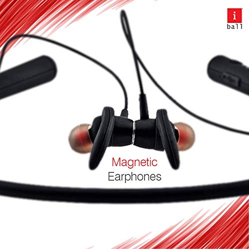 iBall EarWear Base BT 5.0 Neckband Earphone with Mic and 12 Hours Battery Life (Black) Image 6