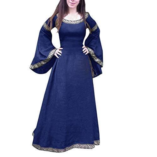 Xmiral Damen Mittelalterliches Kleid Unregelmäßige Lange Ärmel Cosplay Maxi Kleider Kostüm für Karneval, Maskerade(5XL,Blau) (Turtle Halloween Kostüme Mädchen Ninja)