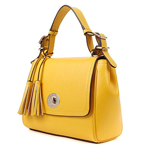 PACK Ladies Leather Ladies Dolce Tassels Messenger Bag Ladies Piccolo Borsa Portatile,A:RoseRed B:Yellow