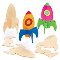 Baker Ross Wooden Rocket Stand up Kits (Pack of 6) For Kids to Decorate and Display