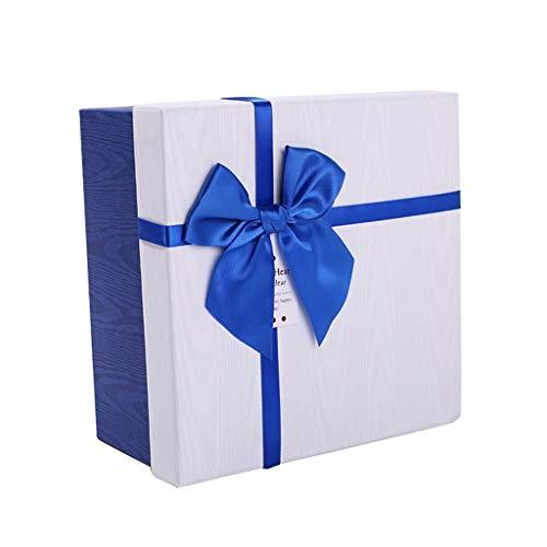 Quadratische Geschenkbox-Blaue und weiße Farbband-Bogen-Dekorations-Geburtstags-Feriengeschenk-Verpackung (größe : M(15.3×15.3×7.5cm))