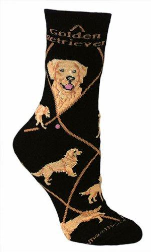 Golden Retriever Hund Design Neuheit Socken in Schwarz, Black, L