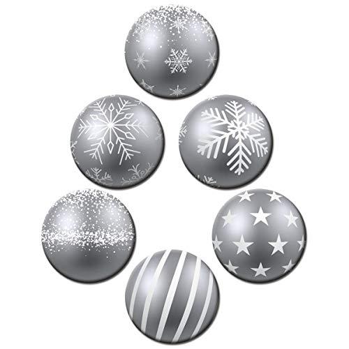 Kühlschrankmagnete Weihnachten Magnete Kugeloptik Silber für Magnettafel stark 6er Set groß rund 50mm Weihnachtsdeko mit Motiv Weihnachtsbaumkugeln