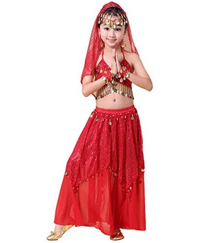 Anguang Kinder Mädchen Maxirock Camisole Top Pailletten Bauchtanz Kostüm Rot#3