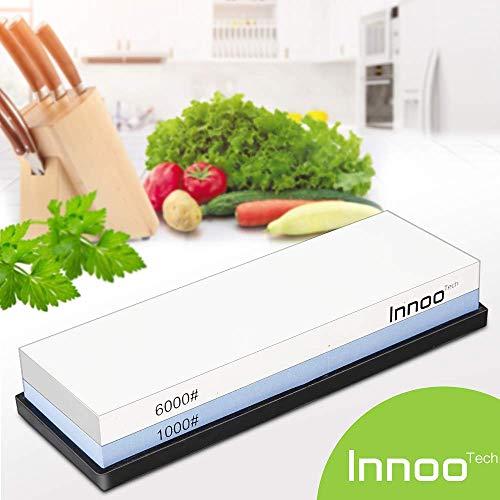 Innoo Tech 2-IN-1 Schleifstein Abziehstein für Messer, Körnung 1000/6000 Wasser Abziehstein Schonendes Schleifen mit Wasserschleifstein Doppelseitiger Messerschärfer Wetzstein messerschleifstein nass