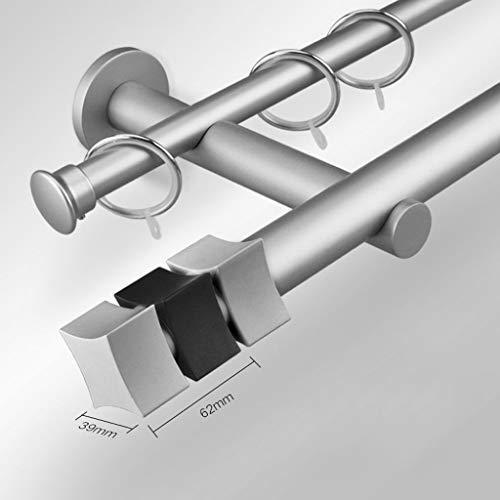 Blsty semplice bastone da tenda doppio, muro standard bastone per tende con terminali cilindrici per tenda ad occhiello/tenda per porta bastone per tenda-come-argento-120cm(47inch)