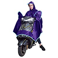 Universal Motorbike Poncho Scooter Cape Wide Hat Brim Motorcycling Rain Cape with Reflective Strip for Safe Riding to Protect User and Scooter from Rain