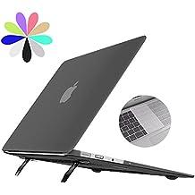 Macbook Pro 13 Retina Caso de con Soporte Plegable, Bidear [Cooling Pad Serie] Ordenador Portátil de Plástico Suave Cubierta de la Caja Mate y la Piel del Teclado Transparente para Macbook Pro de 13 pulgadas Retina -Modelo: A1425 / A1502 (Negro)