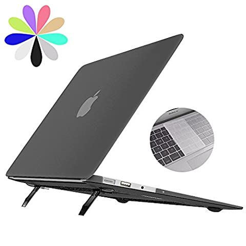 Macbook Air 13 Hülle mit Ständer, Bidear [Cooling Pad Series] Ultra Slim Matt Hartschale Schutzhülle Snap Case & EU Transparent Tastatur Abdeckung für Apple Macbook Air 13 Zoll -Modell: A1369 / A1466