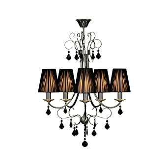 Acanalado 5 Arm Chandelier Made Of Black Crystal With Ribbed Fabric Shades