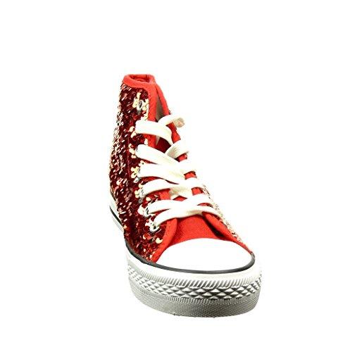 Angkorly Scarpe Moda Sneaker Donna Paillette Lucide Tacco Tacco Piatto 2.5 cm Bordo