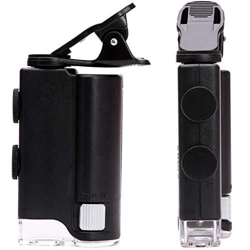 Telefonclip-Vergrößerungsglas mit Licht, 60x 100x Einstellbare, hohe Vergrößerung Zoom HD-Taschenmikroskop-Vergrößerungsglas für Schmuckmarken