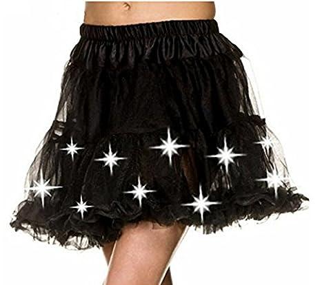 Damen Weihnachten Halloween Party eine Linie Ballett Tütü Mini Rock mit LED Party Kurz Glam Gothic Vintage Petticoat Tanzkleid Ballett Licht Glam Gotik Tüll Tanz Rock (Einheitsgröße, Schwarz)