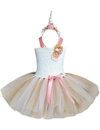 Freebily Kids Girls Rainbow Unicorn Tutu Dress Outfit Princess Costumes with Headband Hairband Cosplay Party Fancy Dress up Clothes