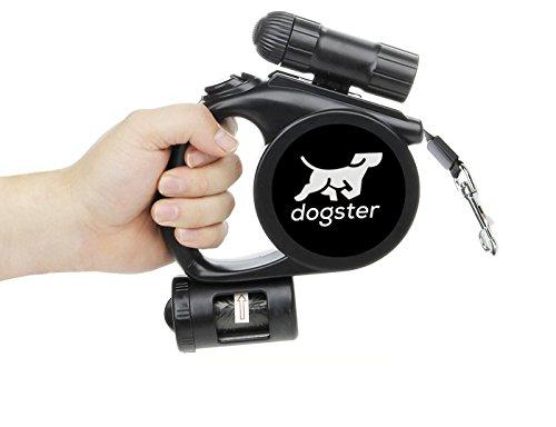 dogster Rollleine, Hundeleine mit Taschenlampe, Rollleine bis Max. 25kg, Leine mit Beutelspender, wiederbefüllbar, Rollleine 5m