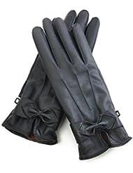 Invierno alta gama además de polar forro a impermeable mujer mantener guantes de cuero caliente