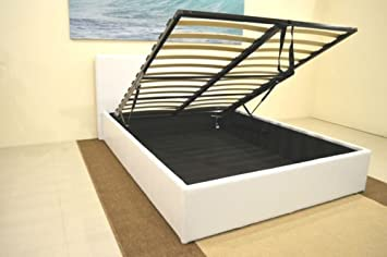 White 4ft6 Double Storage Ottoman Gas Lift Up Bed Frame TIGERBEDS