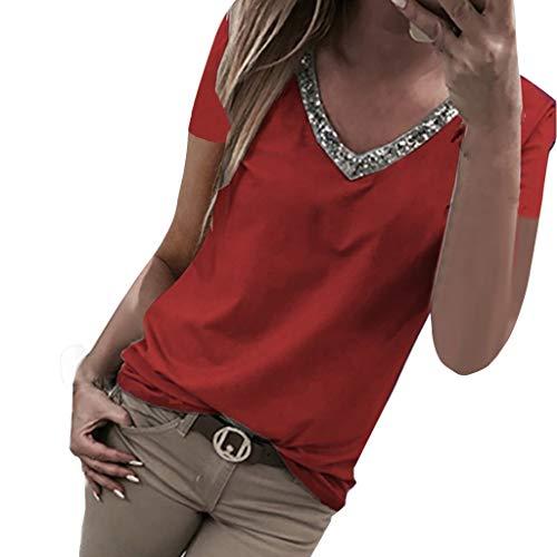 RIVERY Damen Bluse Ärmellos V Ausschnitt Vorne zurück aushöhlen Tank Tops T-Shirt Frauen Sommer Elegant Weste Hemdbluse Unterhemd -