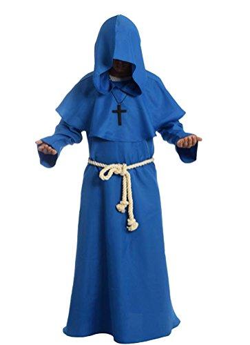 Kostüm Kapuze Papst - Cos2be Mönchmütze mit Kapuze, mittelalterlich - Blau - X-Large