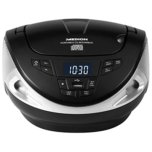 Cd-md-mp3 (MEDION E65130 Boombox Stereoanlage, tragbarer CD MP3 Player, Sound-System, PLL UKW Tuner, USB, AUX, schwarz)