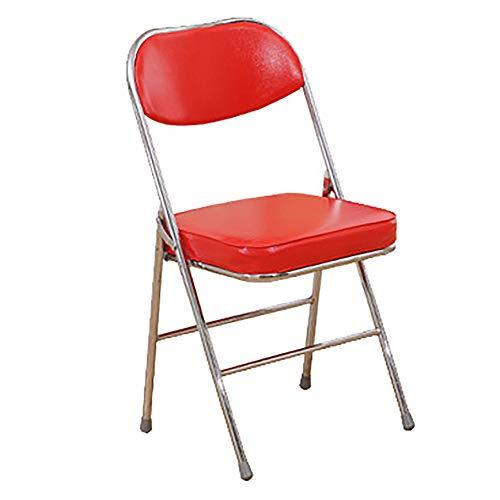 LIPAI Chaise Pliante Simple Tabouret Chaise Maison Chaise Pliante Portable Chaise De Bureau Chaise De ConféRence Chaise D'Ordinateur Chaise D'Assise Chaise De Formation Rouge 80 * 45cm