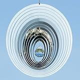Edelstahl Windspiel - Mirror Crystal Oval - Abmessung: 20 x 20cm - mit Kristallglaskugel, Kugellagerwirbel und Haken - (Oval)