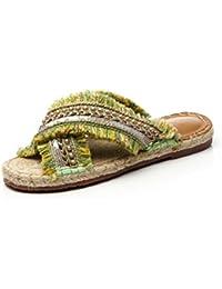 NobS Estilo de vacaciones Perlas Tassil Straw Zapatillas Handmade Straw Zapatillas Beach Shoes Boat Shoes , yellow , 36