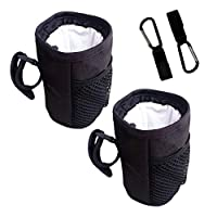SITAKE 2Pcs Adjustable Water Bottle Holder with 2Pcs Multifunctional Hooks for Baby Strollers, Shopping Carts, Wheelchairs, Bikes - Black