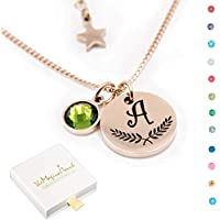 TMT® Personalised birthstone necklace gift for ♥ Birthday ♥ Mum Auntie Sister Daughter ♥ 18th 21th 30th 16th 13th Initial Name Letter