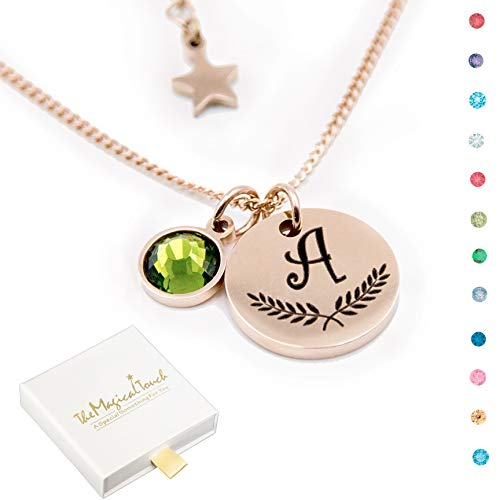 TMT® Personalised birthstone necklace gift for ? Birthday ? Mum Auntie Sister Daughter ? 18th 21th 30th 16th 13th Initial Name Letter