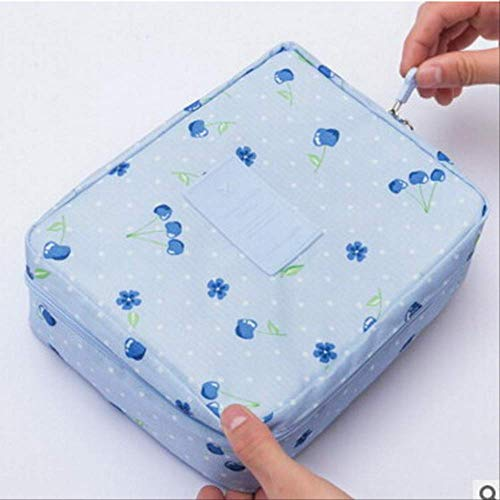 HZB Kosmetiktasche Frauen waschen Kultur Make-up Lagerung Travel Kit BagBlue Cherry -