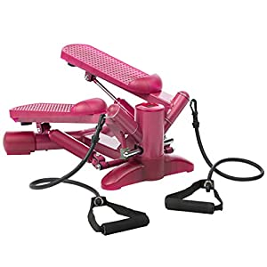 Ultrasport Lady Stepper, Ministepper mit Trainingsbändern und verstellbarem Widerstand, Trainingsgerät für Gesäß und Beine, Heimtrainer inkl. Trainingscomputer mit vielen Funktionen, pink