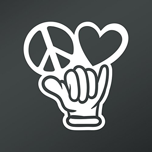 Peace Love Hang Loose Shaka Vinyl Decal Sticker | Cars Trucks Vans Walls Laptops Cups | White | 5.5 X 5.3 Inch | KCD1673 (Surfen Kerl)