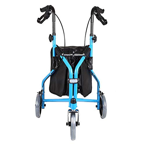 DYHQQ Leichter, zusammenklappbarer 3-Rad-Tri-Walker aus Aluminium mit feststellbaren Bremsen und Tragetasche, Einstellbarer Höhe, eingeschränkter Mobilität -