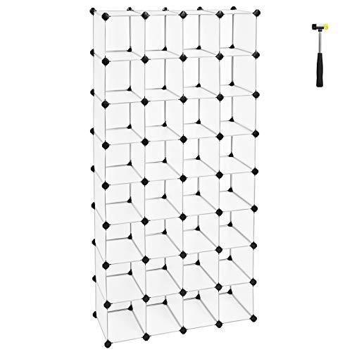 SONGMICS Schuhregal, modulares Würfelregal, Schuhschrank, ineinandergreifende Struktur, Regalsystem aus Kunststoff, für Wohnzimmer, Ankleidezimmer, Badezimmer, inkl. Gummihammer, weiß LPC48S