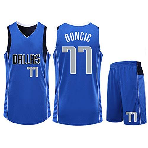 NBA Trikots Set - Dallas Mavericks Luka Doncic # 77 Basketballhemd Weste Top Sommer Shorts für Mann und Frau XS-XXXL-Blue-XXL -