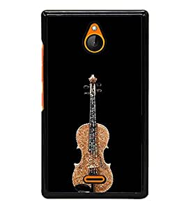 PrintVisa Designer Back Case Cover for Nokia XL (Decorated Guitar In Black Background)