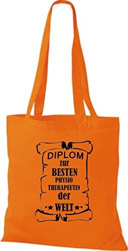 Shirtstown Stoffbeutel Diplom zur besten Physiotherapeutin der Welt Orange