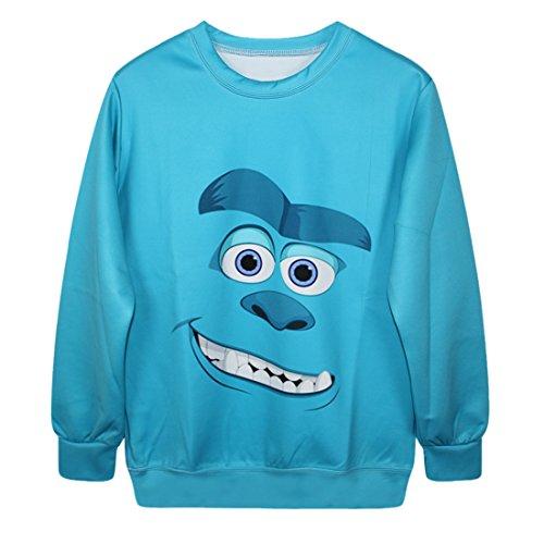 YICHUN Femme Tops T-Shirts de Loisir Tee-Shirt Léger Sweat-shirts Sweaters Impression Pulls Blouse Pull-Overs Jumpers Bleu 4#