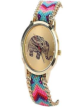 Culater® Frauen ethnisch Elefant Muster gestrickt gewebte Seil Band Armband Armbanduhr hellblau+pink