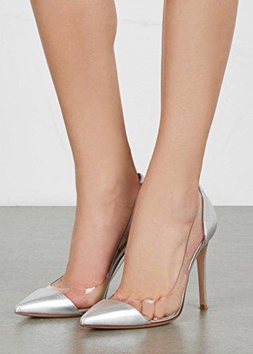EDEFS - Femmes Escarpins - Chaussures à Talon Aiguille - 120mm - Transparent Stilettos- Taille 35-45 Argent