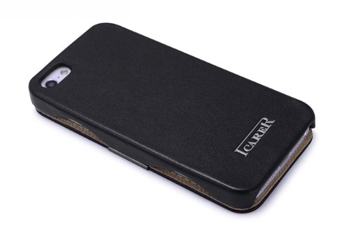 Luxus Tasche für Apple iPhone SE , iPhone 5S und iPhone 5 / Case Außenseite aus Echt-Leder / Innenseite aus Textil / Schutz-Hülle seitlich aufklappbar / ultra-slim Cover / Vintage Look / Farbe: Rot Schwarz - glatt