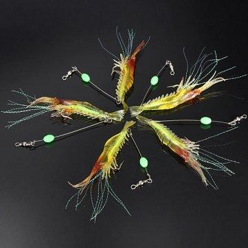 Silicone pêche de Man Friday Simulation Noctilucent crevettes souple Lure Crochet Bait