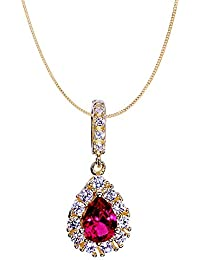 18K Yellow Gold Plated Created Ruby 7MM Pendant In Silver 925, Gold Plated Pendant For Women - By Ornate Jewels
