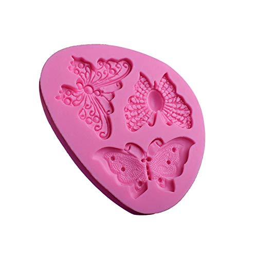 Hunpta@ Mould Weihnachten, Schmetterlings-Form-Silikon-Fondant-Kuchen-Form, die Schokoladen-Backformen-Form verziert (Rosa)
