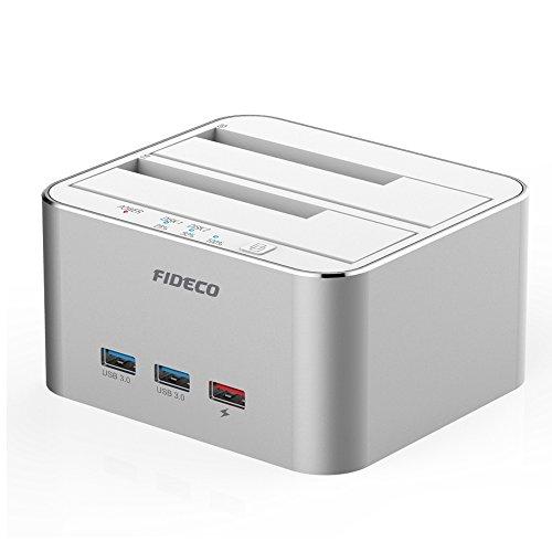 USB 3.0 Externe Festplatten Dockingstation mit 3 Port, FIDECO Aluminium Dual Bay Hdd Docking Station für HDD/SSD/SSHD or 2.5 und 3.5 Zoll SATA III Offline Klon[Unterstützt 2 x 10 TB (Silber)] (Externe Festplatte Dual)