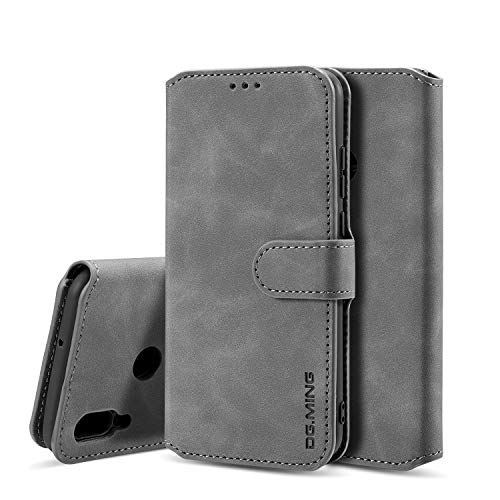 xinyunew Huawei P Smart 2019 Hülle, 360 Grad Handyhülle + Panzerglas Premium Handy Schutzhülle Leder Wallet Tasche Flip Brieftasche Etui Schale (Grau)